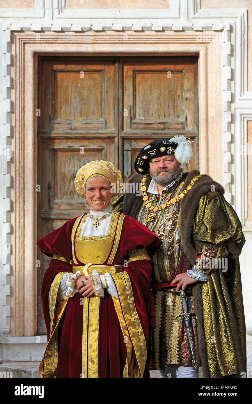 Henry VIII, King of England and his fourth wife Anne of Cleves during the Carnival of Venice (Carnevale di Venezia) - Stock Image