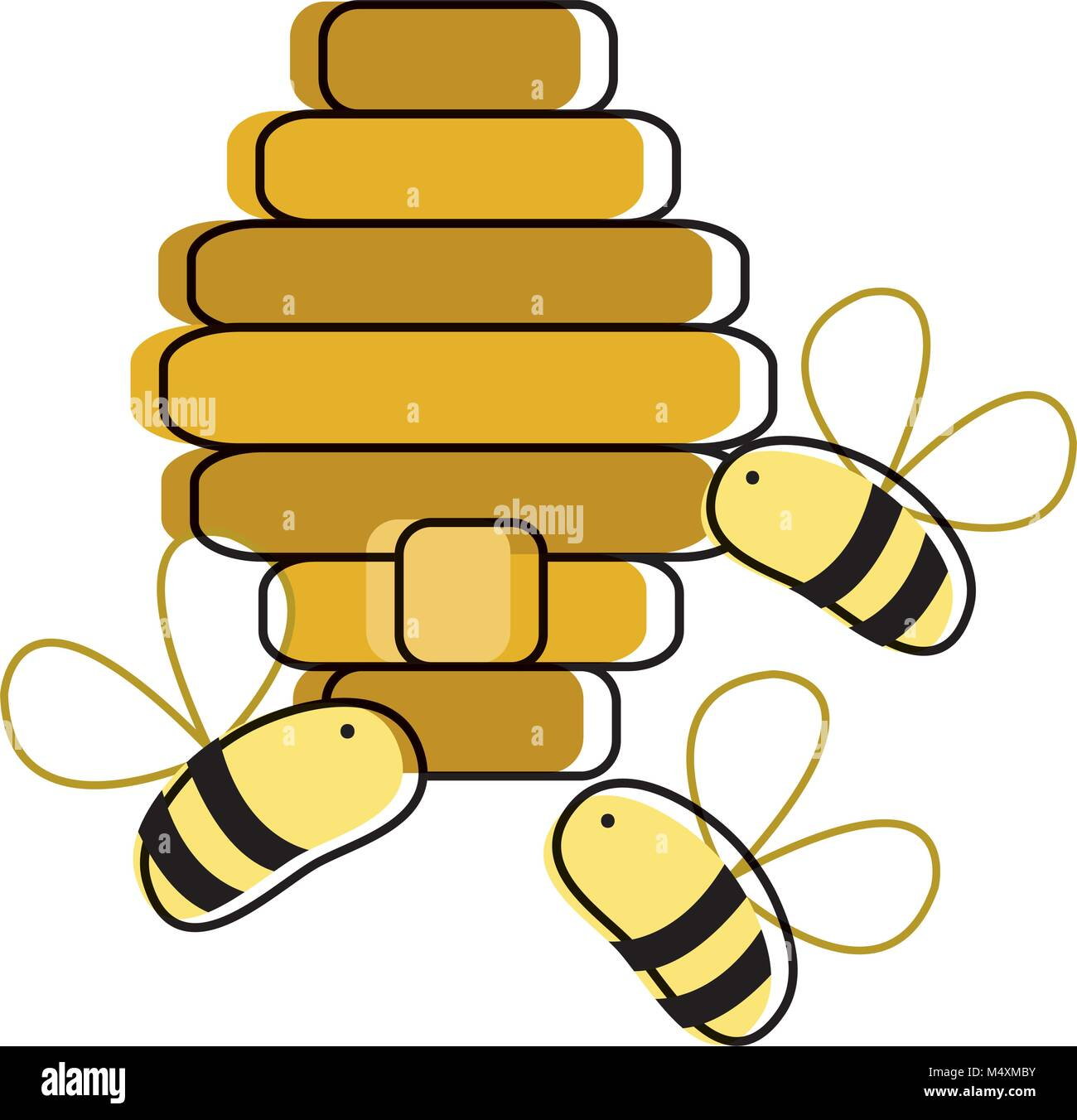 line color cute bees insect flying about honeycomb Stock Vector Art ...