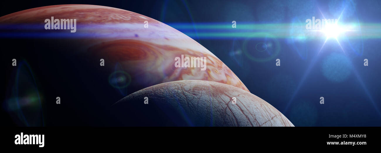 Jupiter's moon Europa in front of the planet Jupiter lit by the Sun - Stock Image