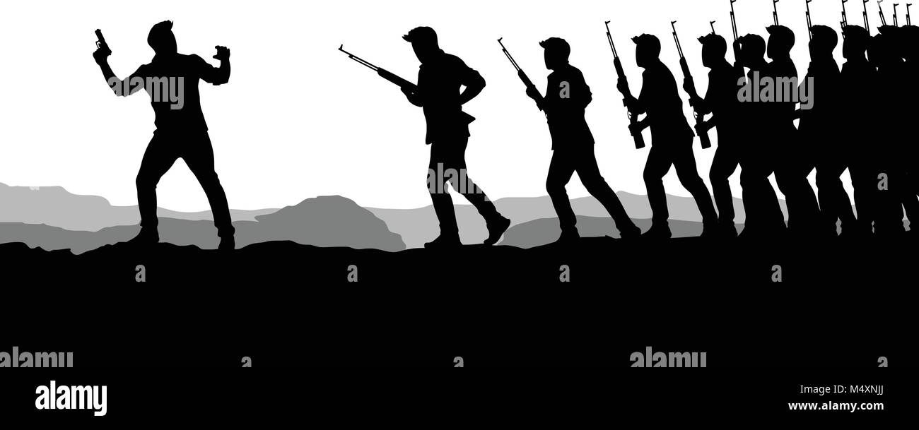 war picture silhouette 02 - Stock Vector