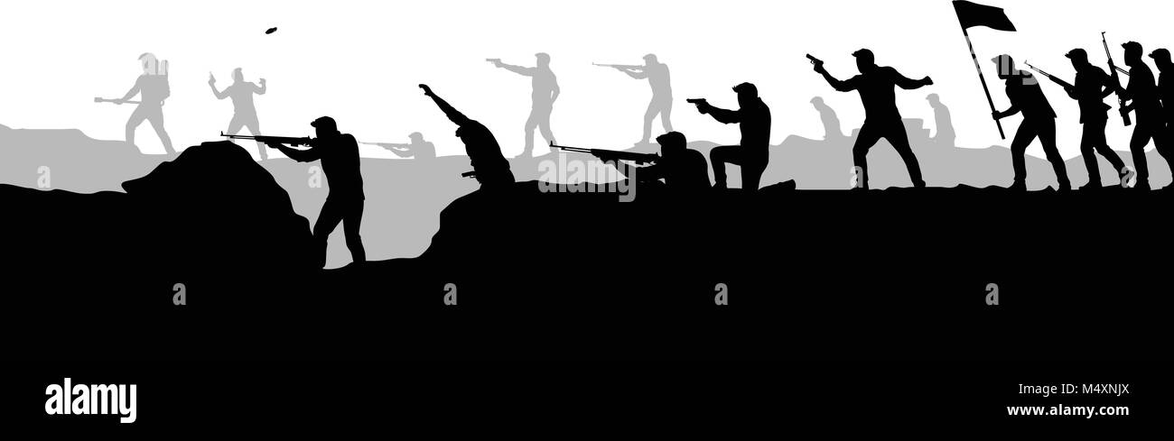 war attacking picture silhouette - Stock Vector