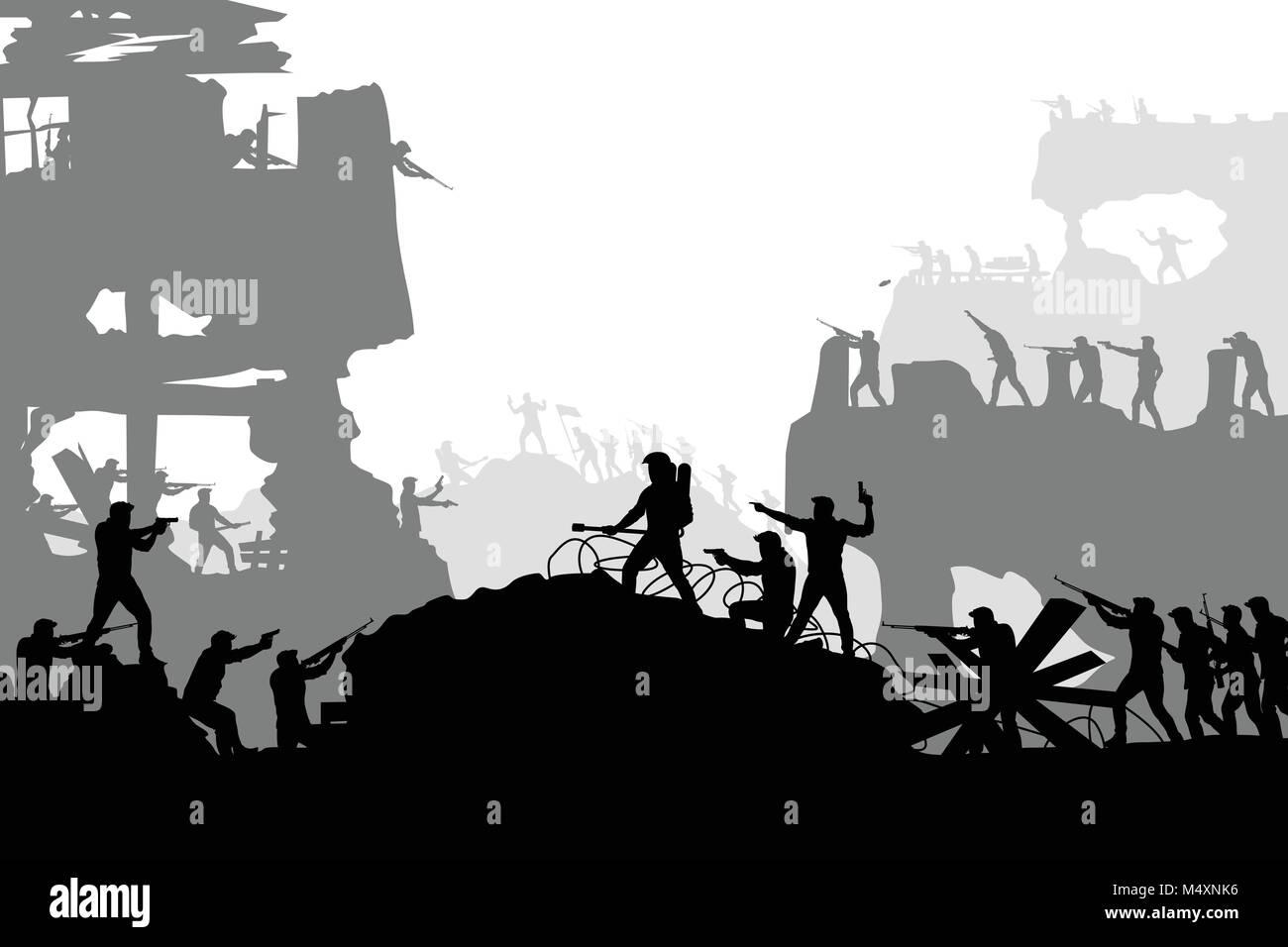 war battle silhouette - Stock Vector