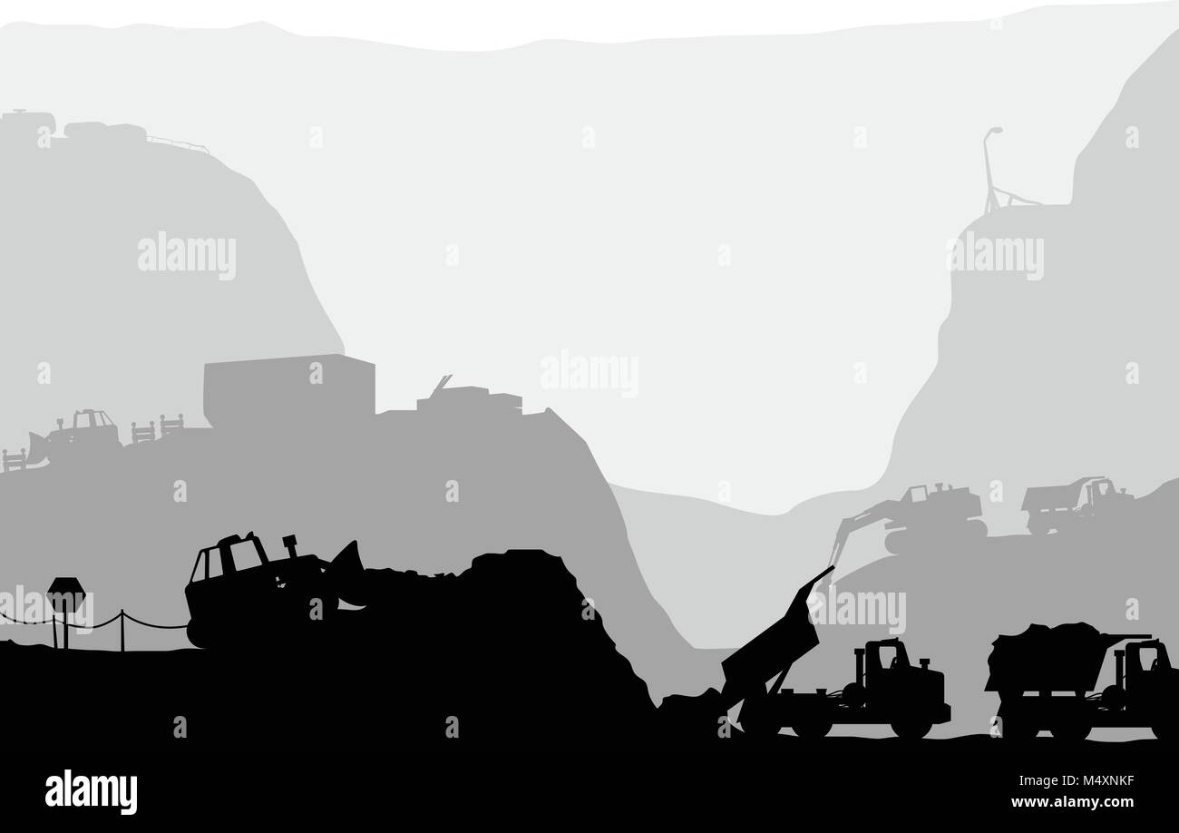 working silhouette vehicles in canyon - Stock Vector