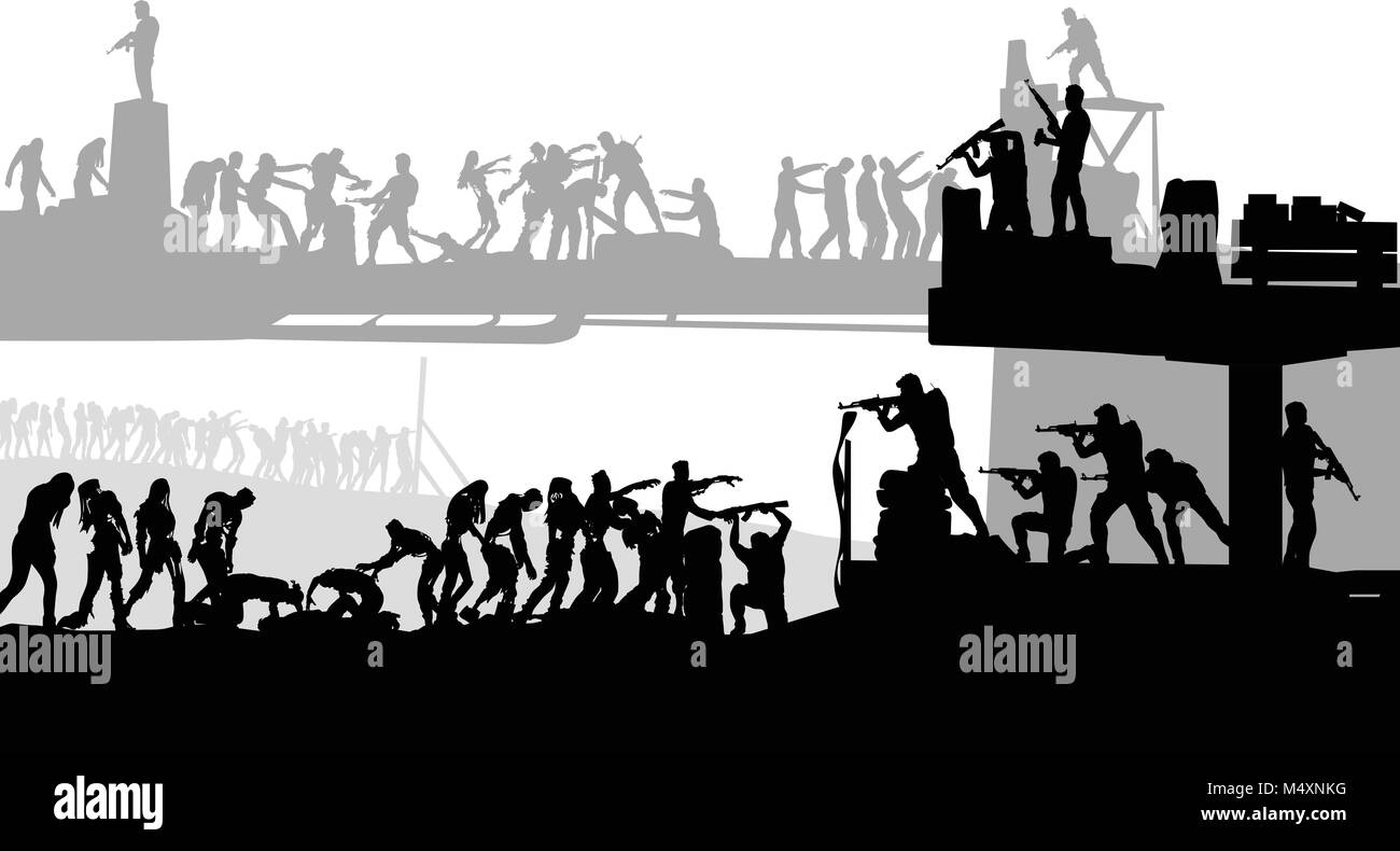 zombies attacking silhouette - Stock Vector