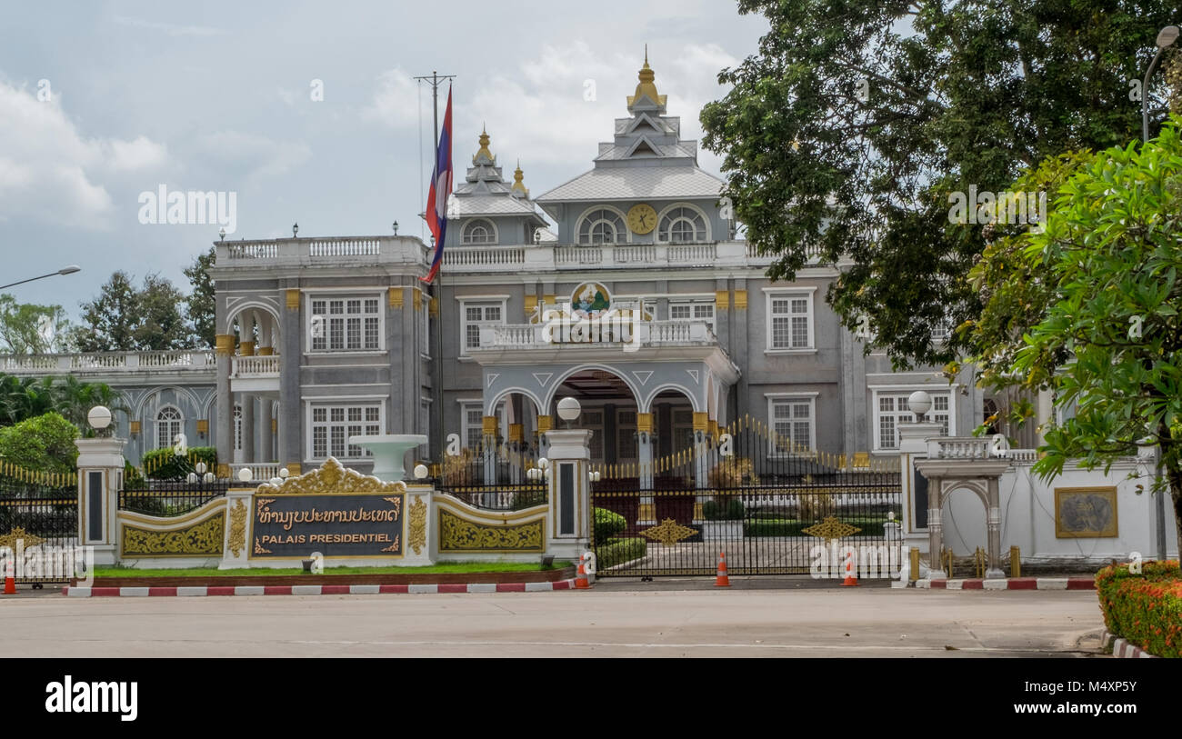Presidential Palace in downtown Vientiane Laos - Stock Image