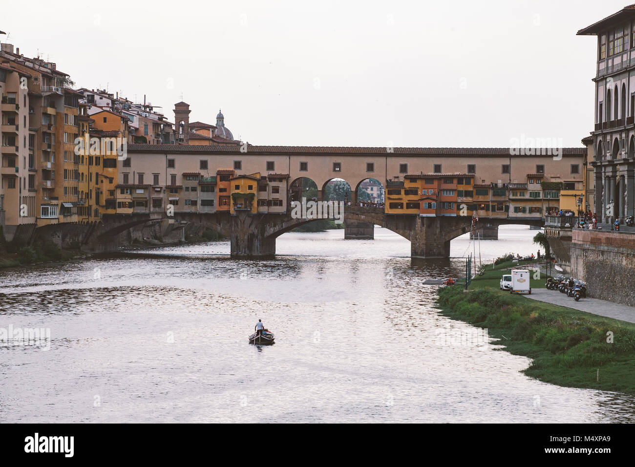 italy, florence, July 18, 2013 Bridge Ponte Vecchio in Florence, Italy Old bridge over the Arno river - Stock Image