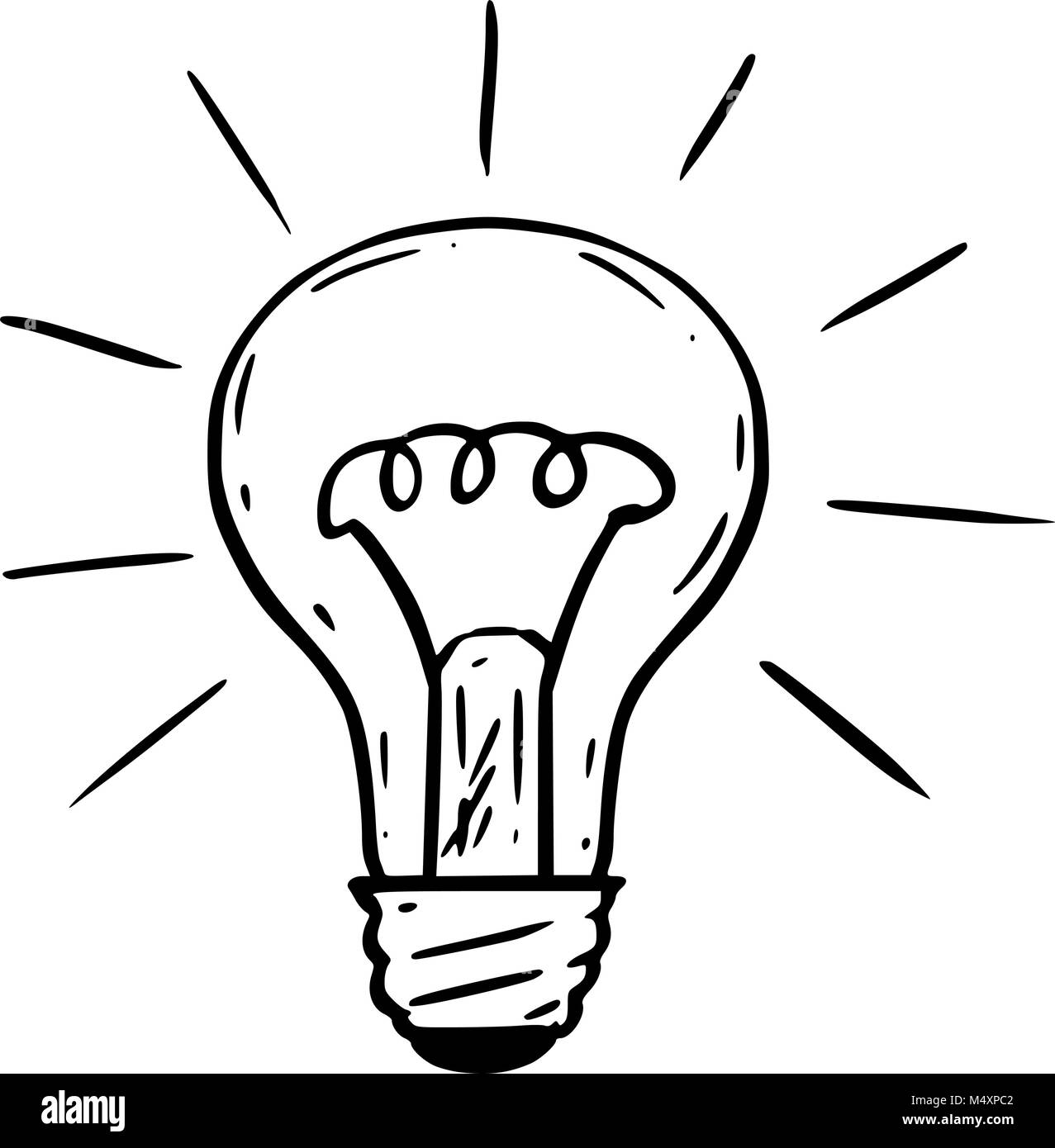 Cartoon Shining Light Bulb Black And White Stock Photos Images Alamy
