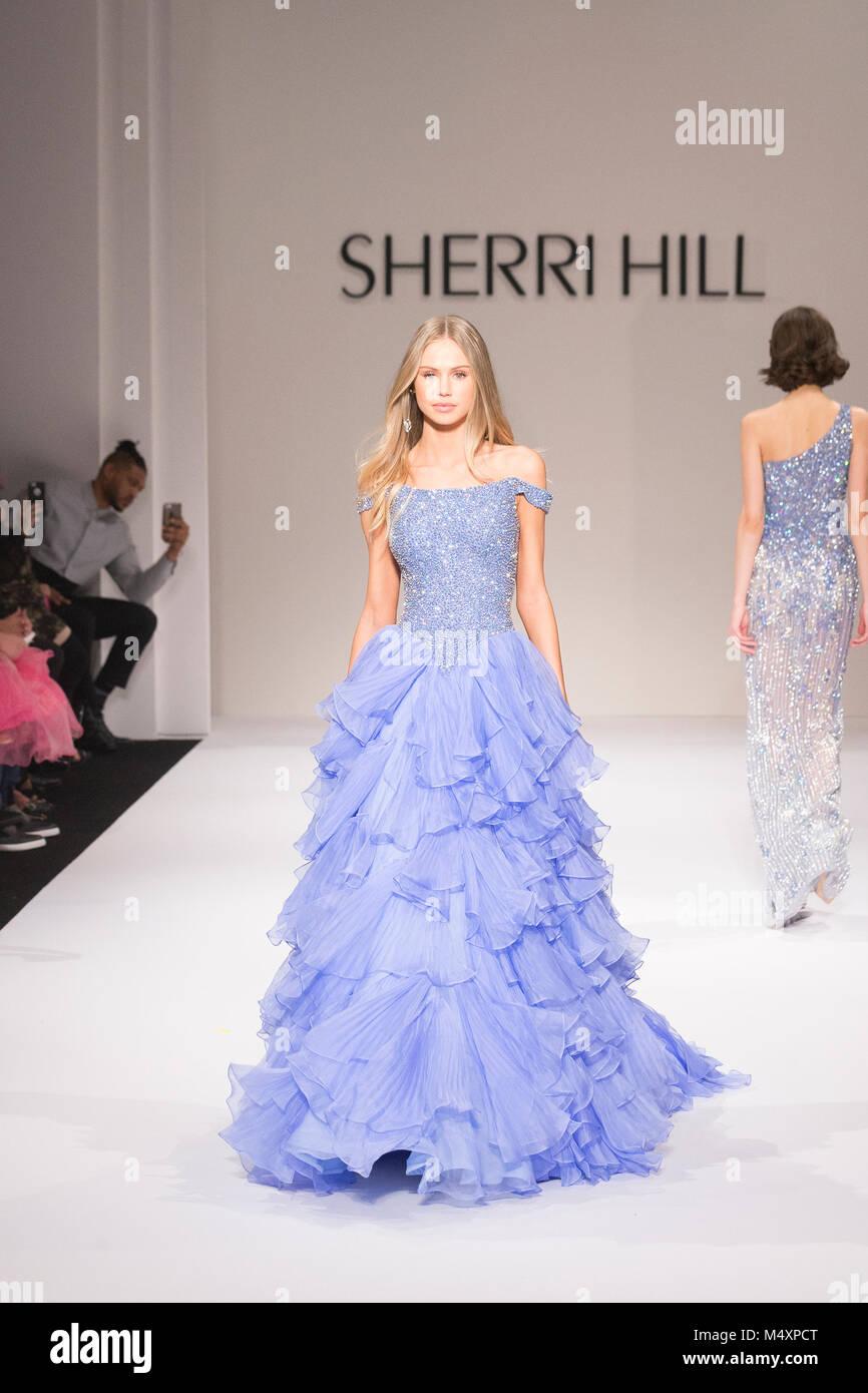 d65955257195 Model walks runway for Sherri Hill Autumn/Winter 2018 runway at New York  Fashion Week