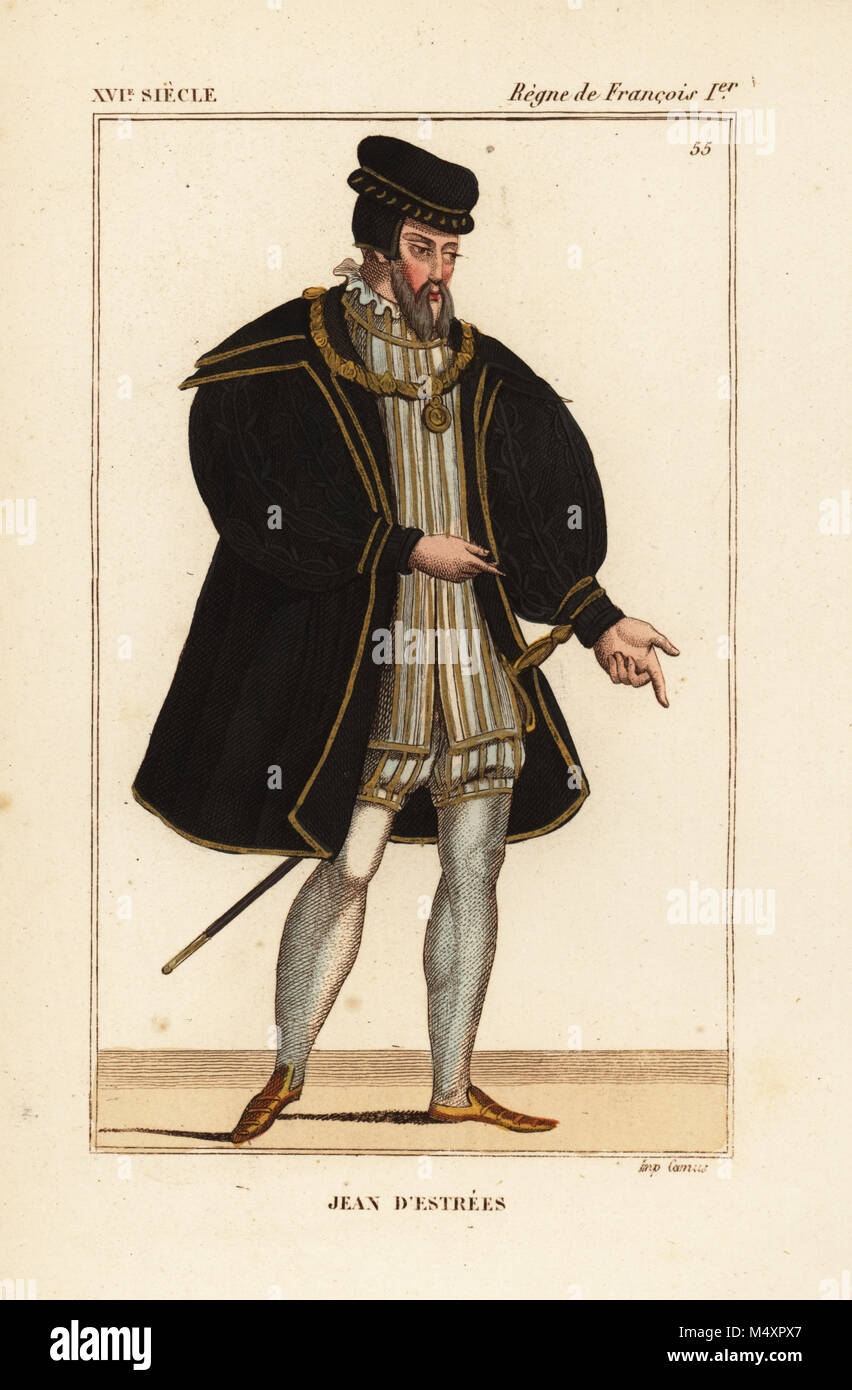 Jean d'Estrees, grand master of the French artillery, 1486-1571. Handcoloured lithograph after a portrait in - Stock Image