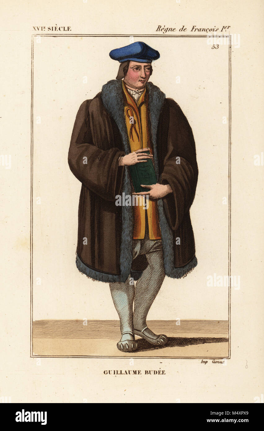 Guillaume Budee, Guilielmus Budaeus, French scholar 1467-1540. Handcoloured lithograph after an engraving of an Stock Photo