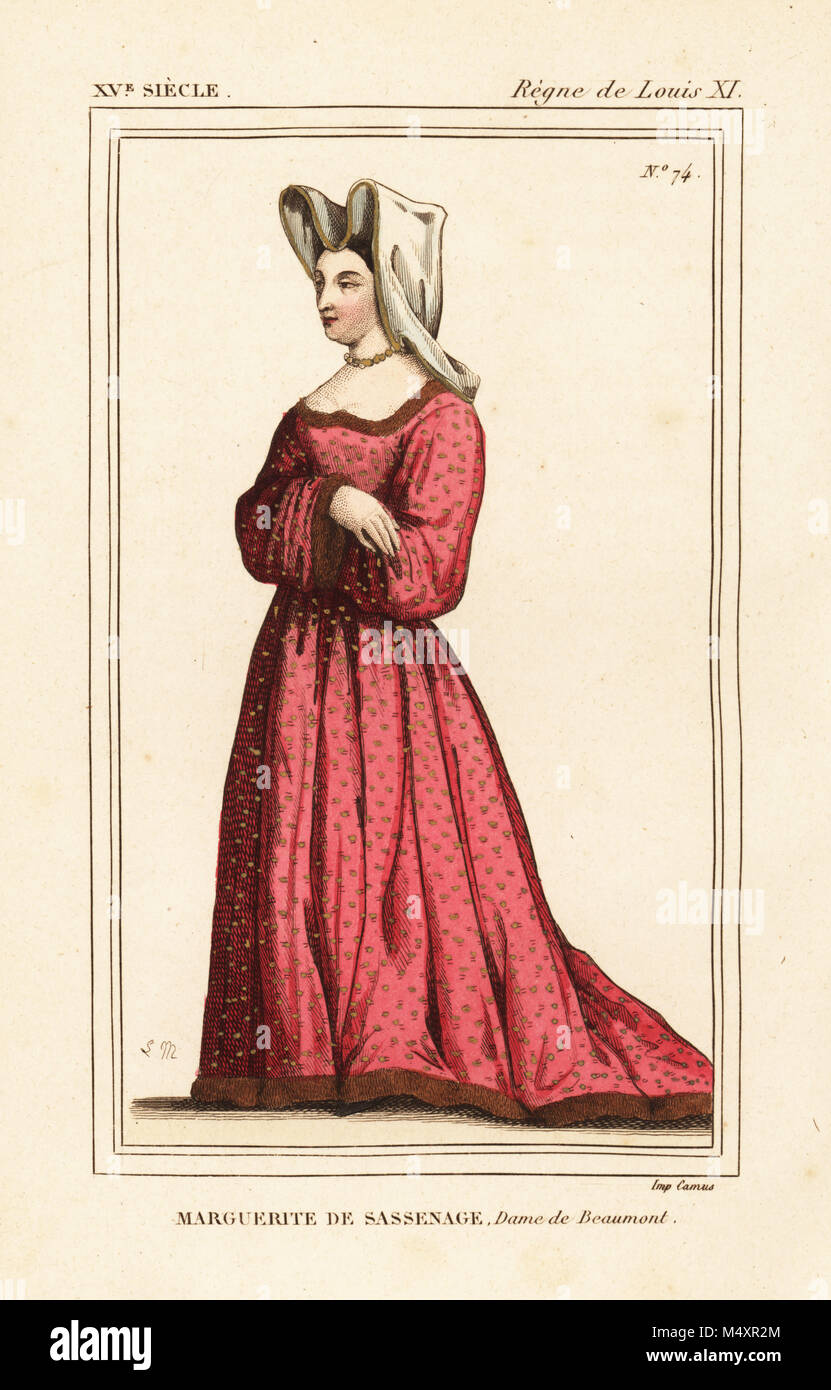 Marguerite de Sassenage, Lady Beaumont, mistress of the dauphin, later King Louis XI of France, d. 1471. Handcoloured - Stock Image