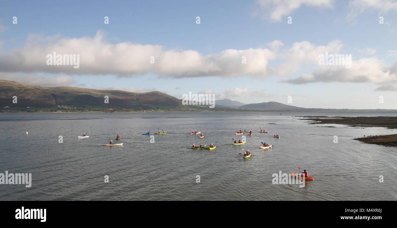 Kayaking on Carlingford Lough. - Stock Image