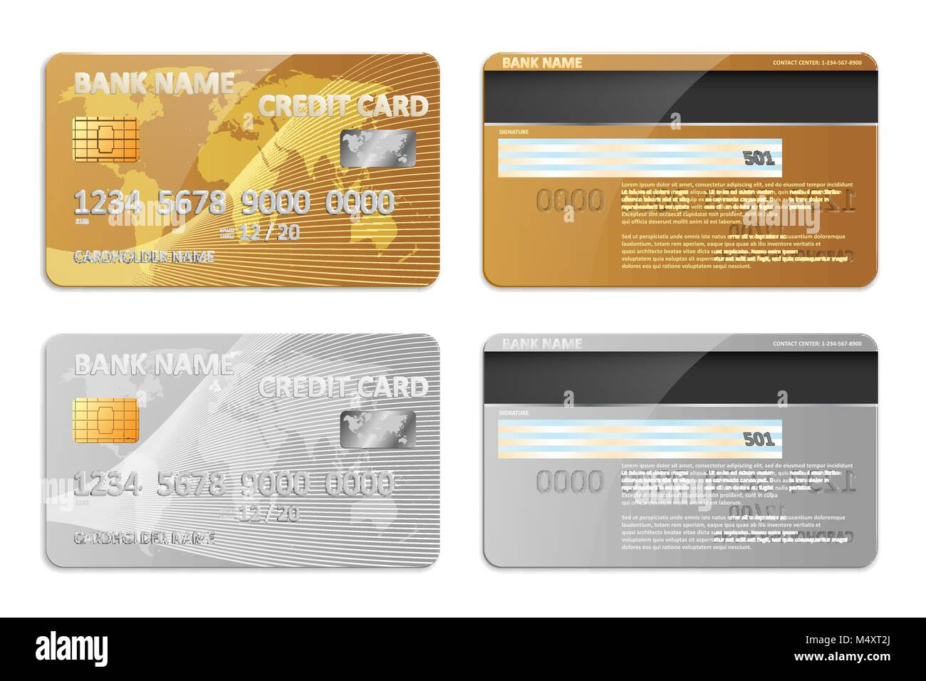 realistic gold and silver bank credit card template isolated bank