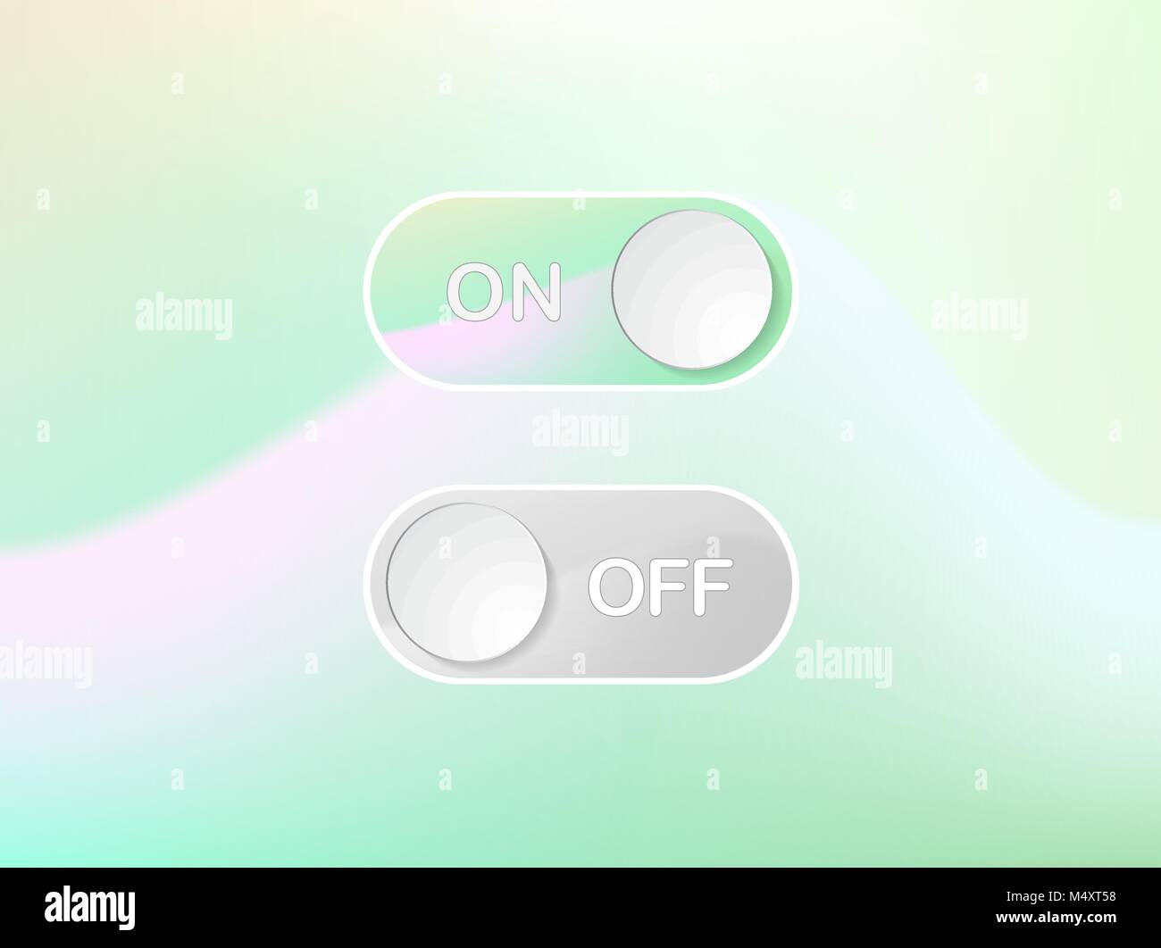 The Vector green interface icon On and Off Toggle switch holographic art button - Stock Vector
