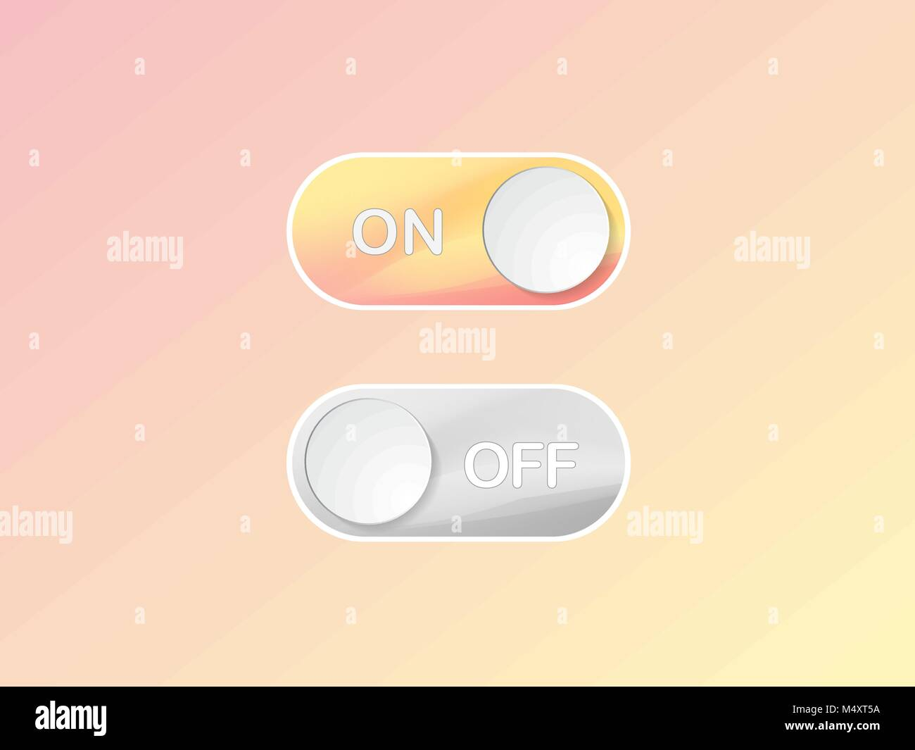 Flat icon On and Off Toggle switch button vector format - Stock Vector