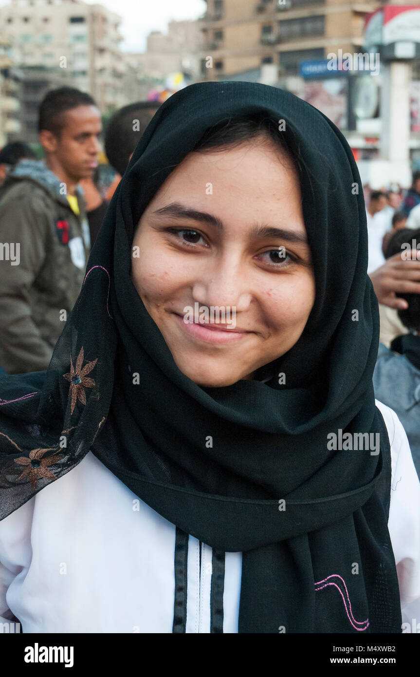 Portrait of a young Egyptian Muslim woman attending the Eid el Adha festival in Mohandiseen, Cairo - Stock Image