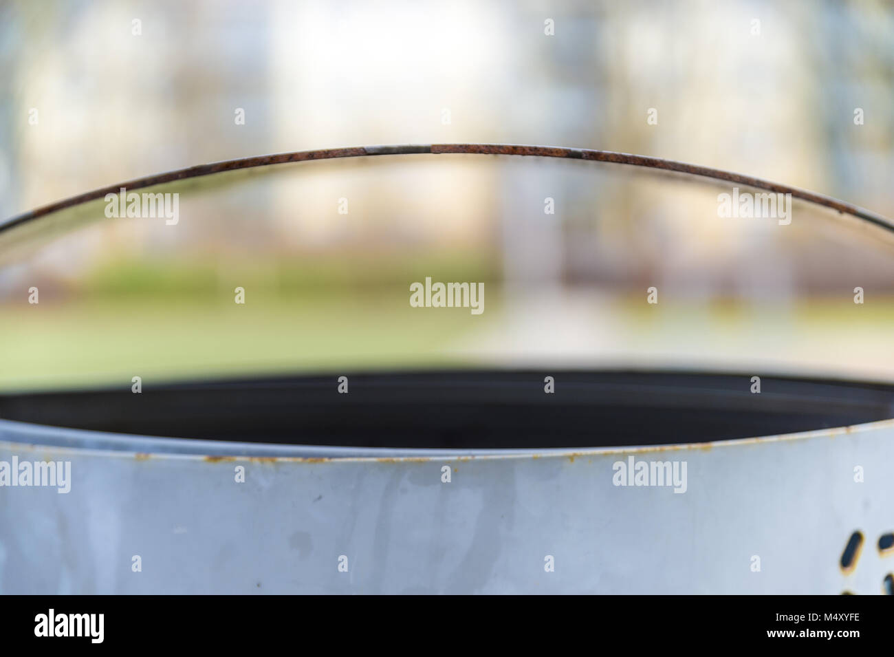 Detailed view of an empty waste container - Stock Image