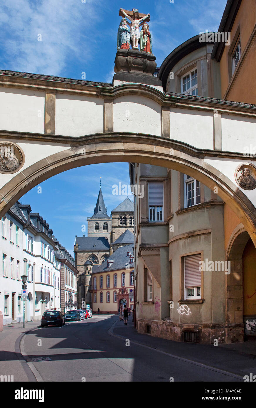 View from Liebfrauen street to the Cathedral of Trier, Saint Peter, Unesco World heritage site,Trier, Rhineland Stock Photo