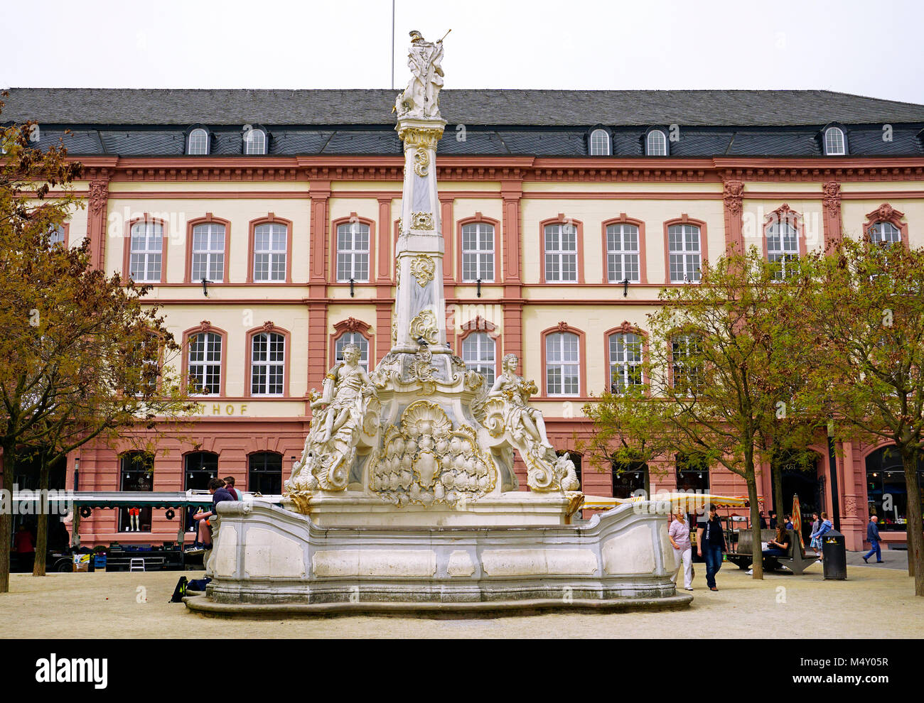 Sankt Georg fountain, one of the most beautiful rococo fountains of Germany, Corn market, Trier, Rhineland-Palatinate, Stock Photo