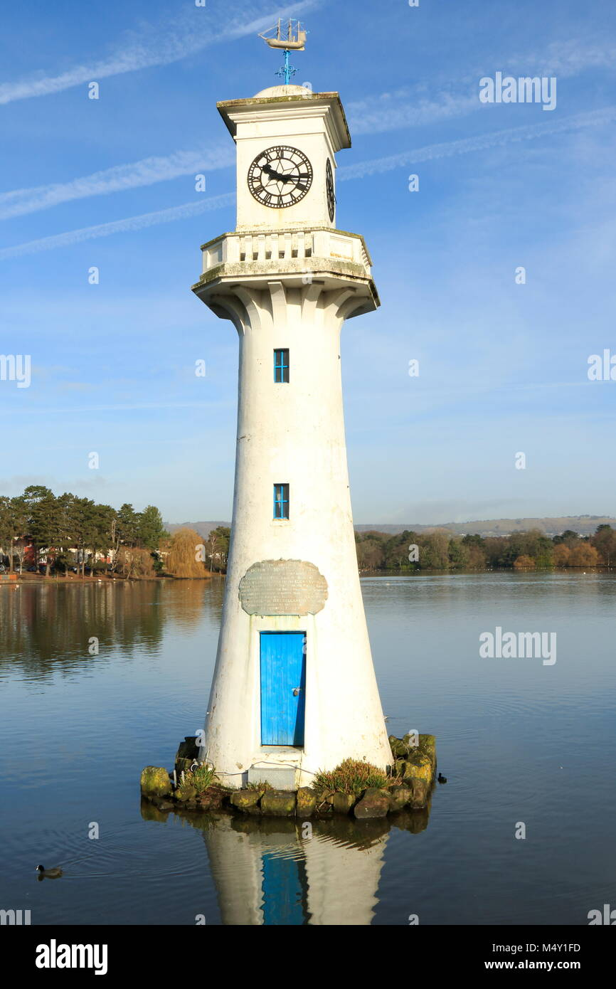 Portrait View of Roath Park Lighthouse, Cardiff, South Wales, UK. This is a Memorial to Captain Robert Scott. - Stock Image