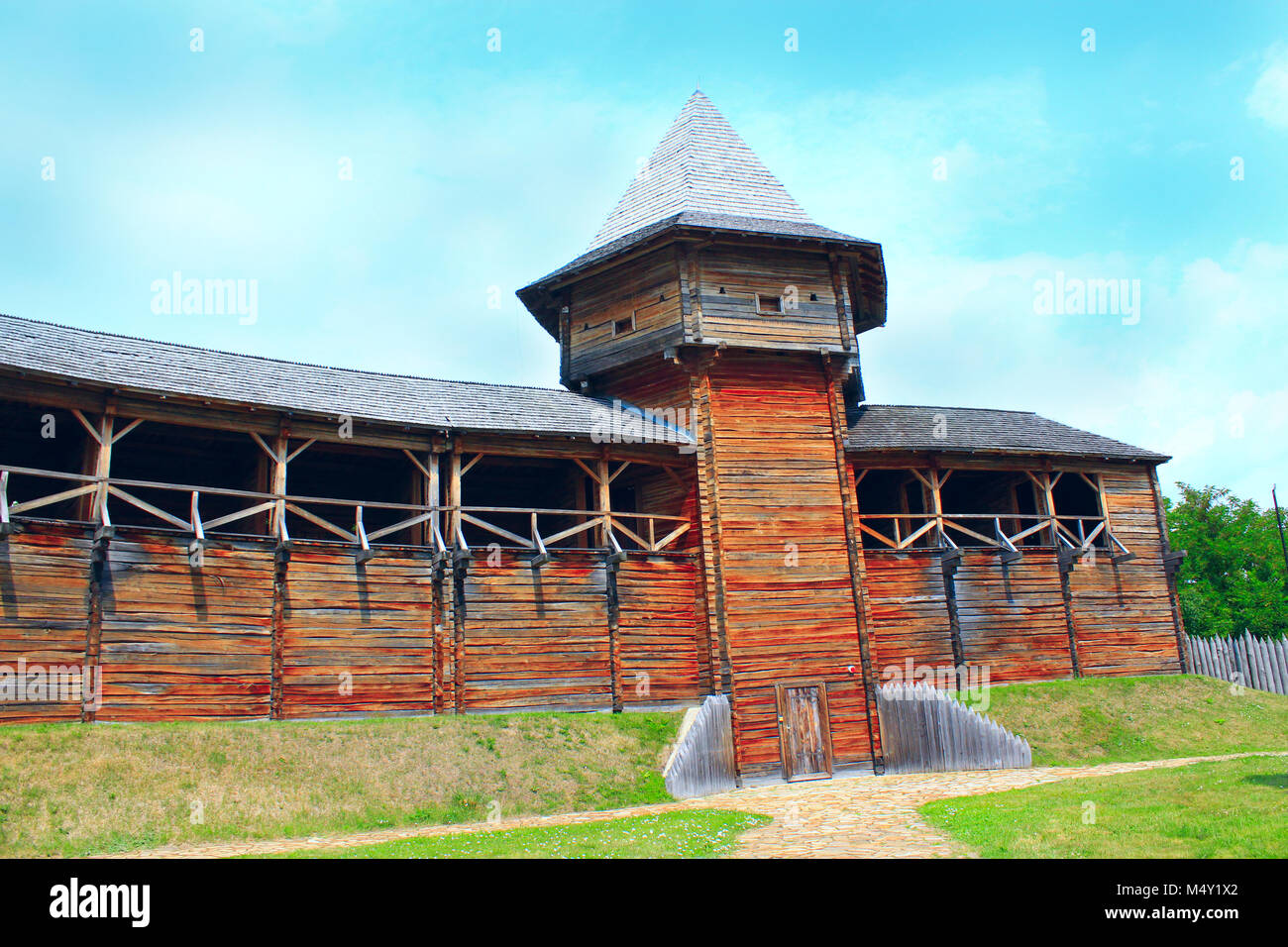 Baturyn Citadel. Ancient Slavonic architecture of fortress - Stock Image