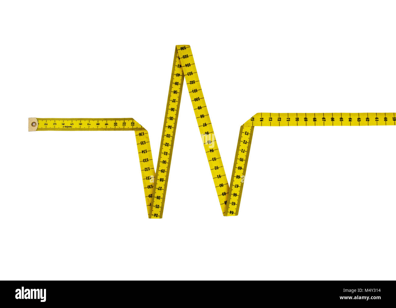 Tape measure in shape of heartbeat, pulse. Healthy eating / lifestyle concept. - Stock Image