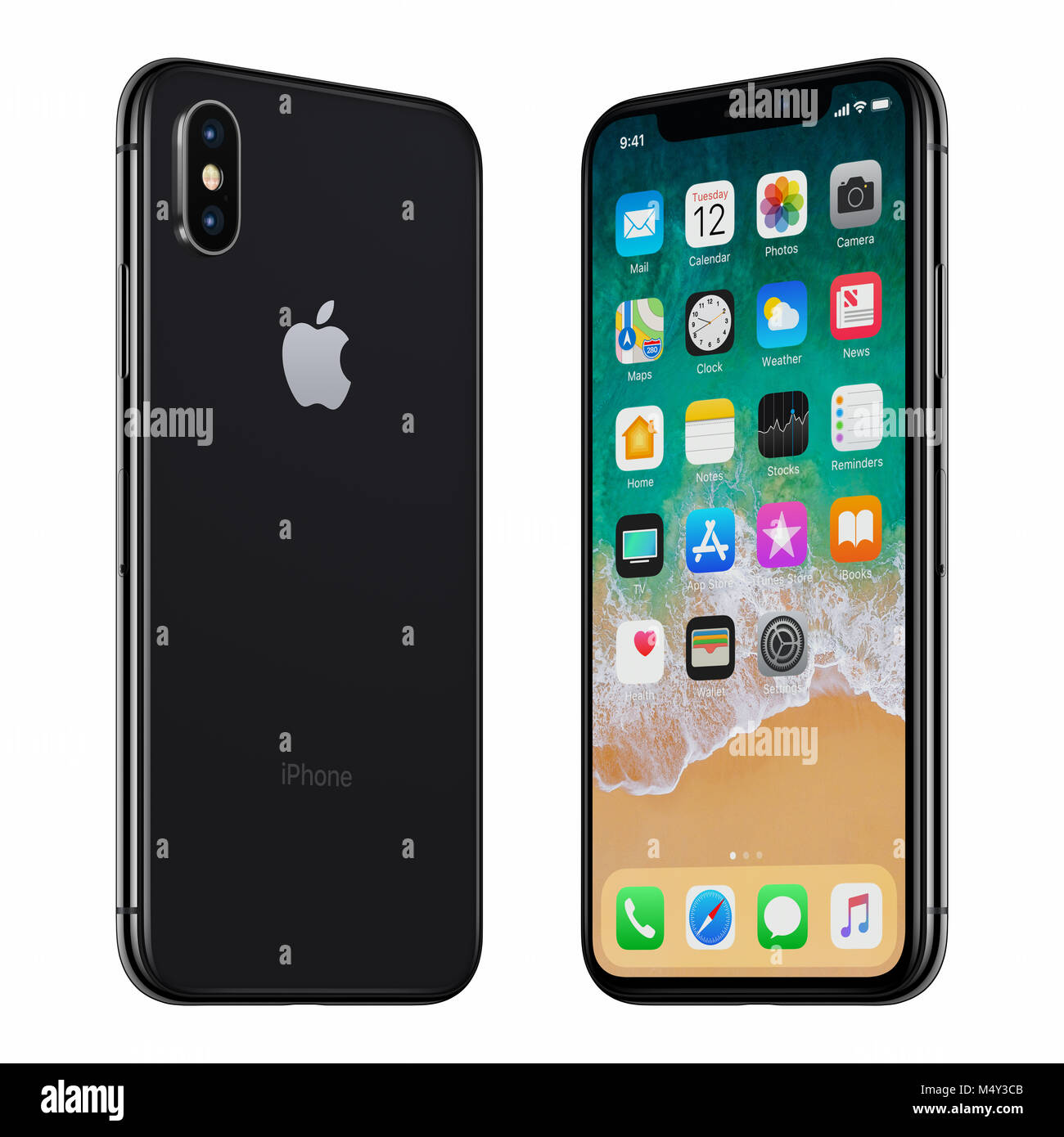 Black Apple iPhone X front side and back side turned towards each other. - Stock Image