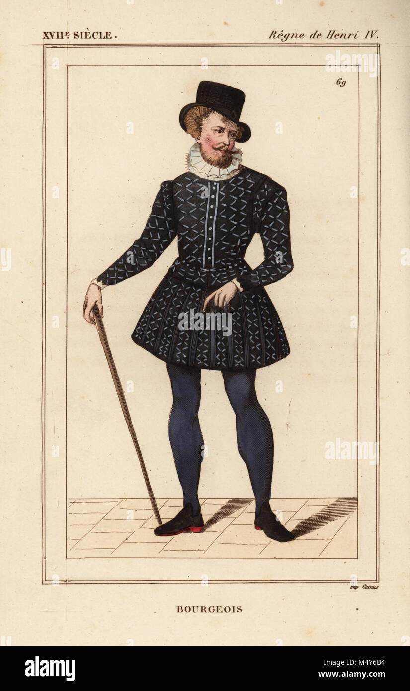 Costume of a bourgeois man of Paris reign of King Henry IV late 16th century. Handcoloured lithograph after a portrait in Roger de Gaignieresu0027 portfolios ...  sc 1 st  Alamy & Costume of a bourgeois man of Paris reign of King Henry IV late ...