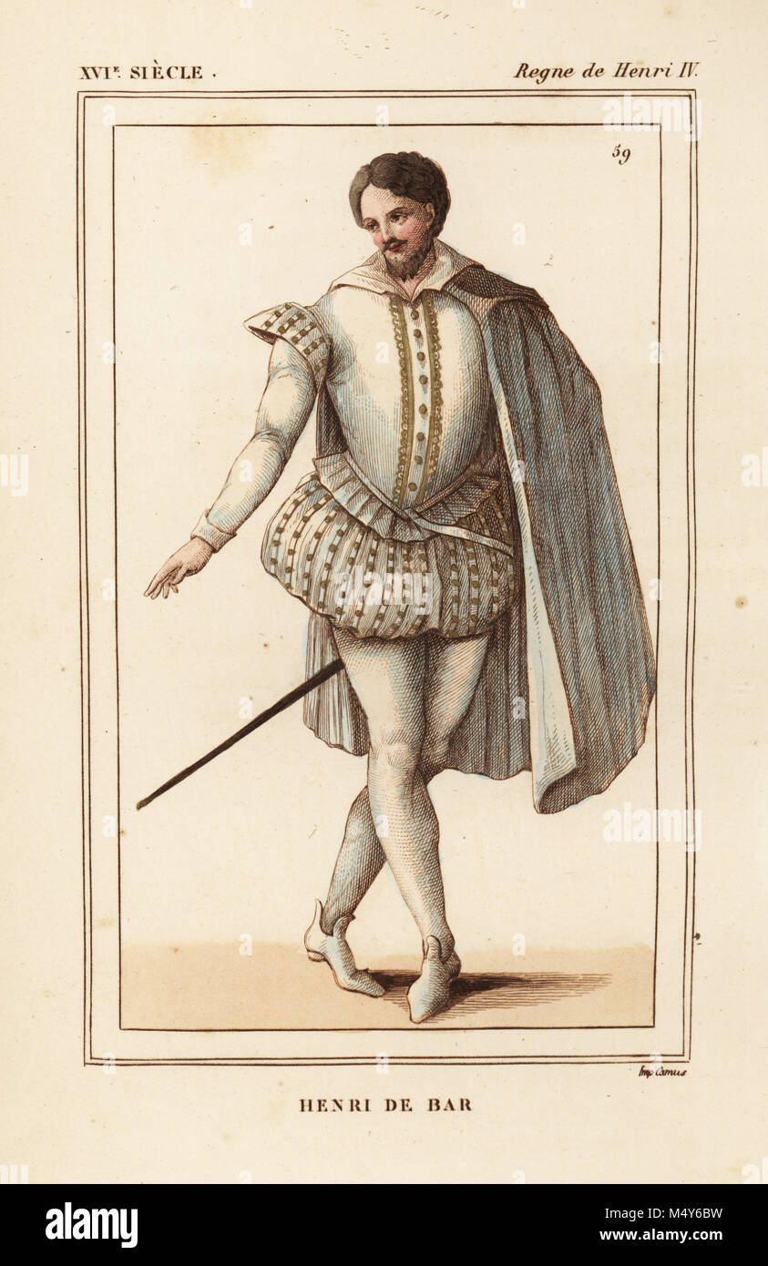 Henry II the Good, Duke of Lorraine and Bar, 1563-1624. Handcoloured lithograph after a 1599 print of the wedding - Stock Image