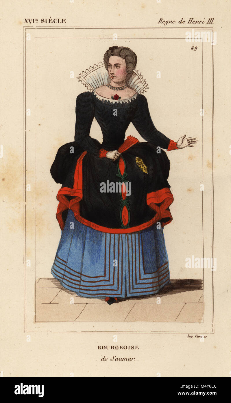 Bourgeoise woman of Saumur, France, reign of Henri III. Handcoloured lithograph after a portrait in Roger de Gaignieres' - Stock Image