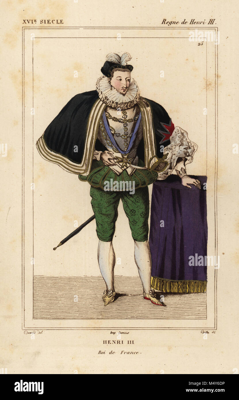 King Henri III of France. Illustration by Dunand, lithograph by Breton after a portrait in Roger de Gaignieres' Stock Photo