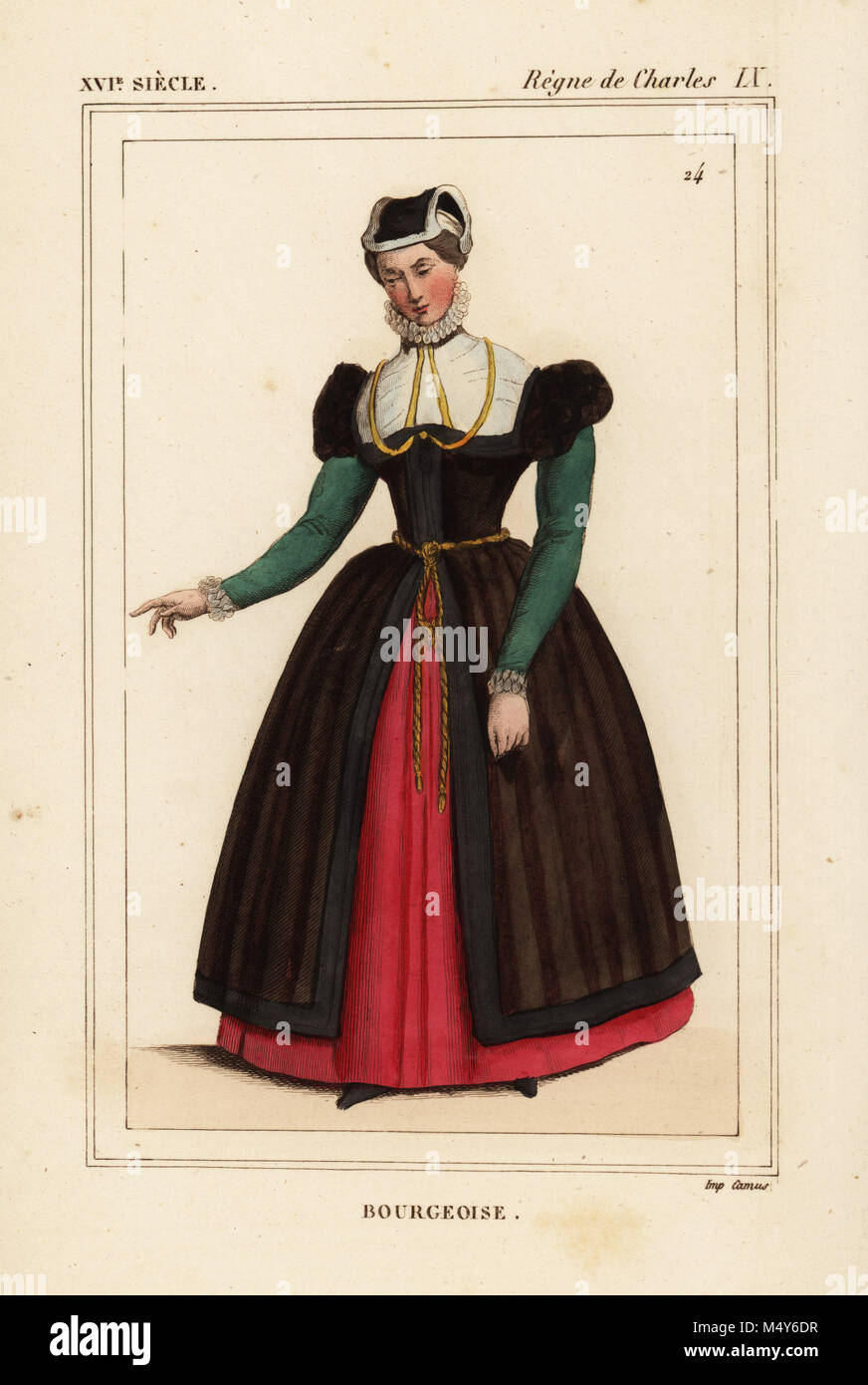 Bourgeoise woman, reign of King Charles IX of France. Handcoloured lithograph after a portrait in Roger de Gaignieres' - Stock Image