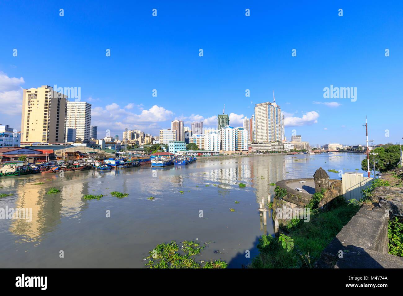 Manila, Philippines - Feb 17, 2018 : Manila pasig river view from Fort Santiago view deck, Intramuros, Manila, Philippines - Stock Image