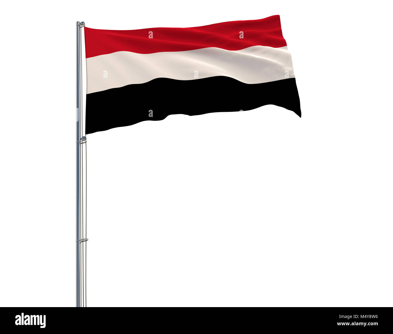 Flag of Yemen on the flagpole fluttering in the wind on a white background, 3d rendering - Stock Image