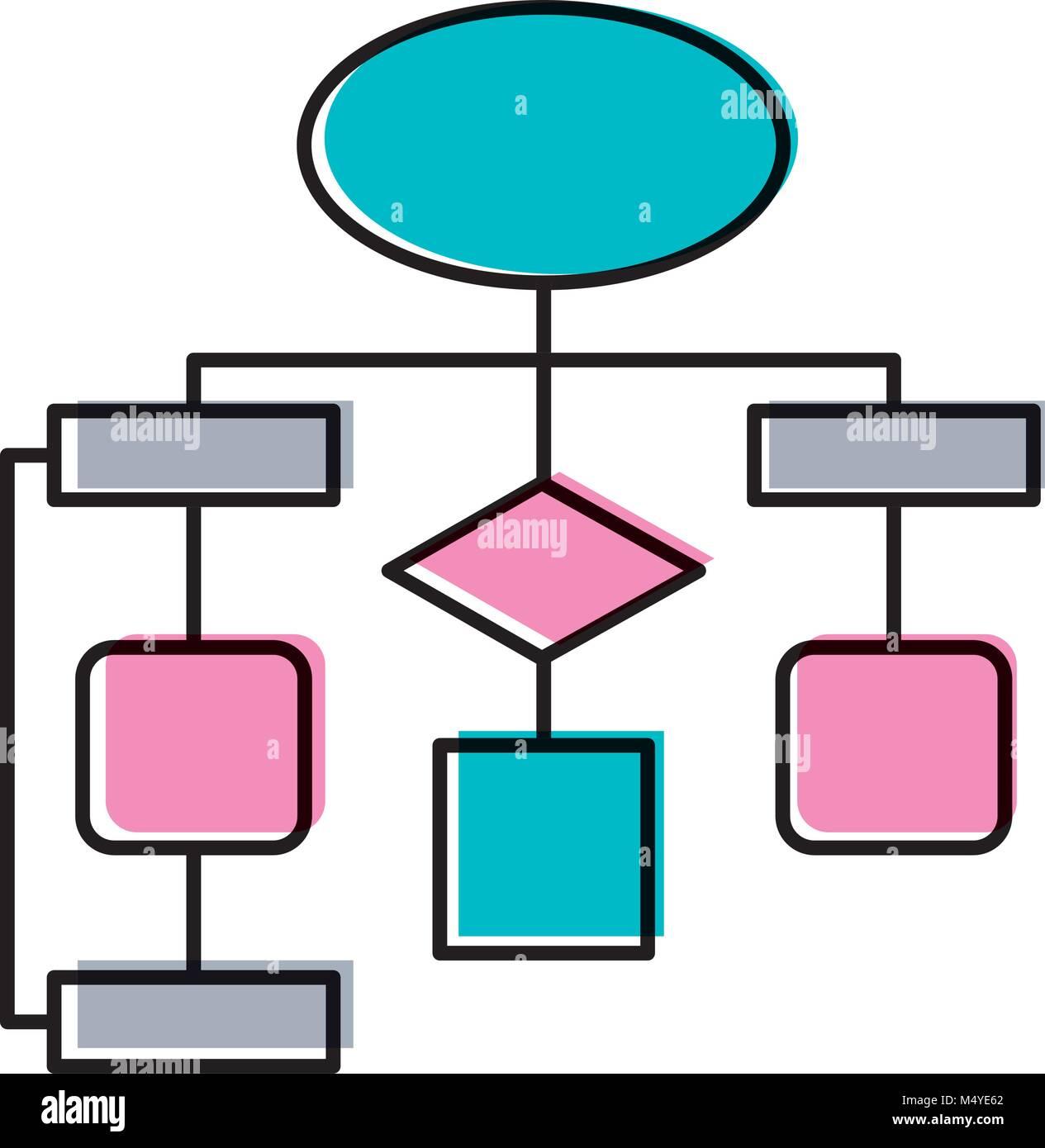 diagram flow chart connection empty - Stock Image