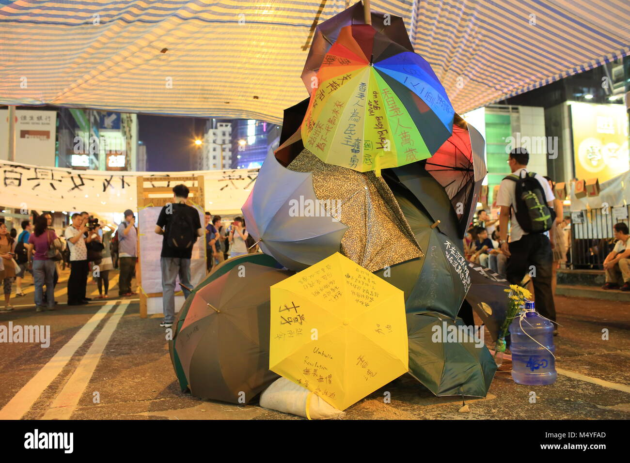 HONG KONG,OCT. 12:people hang the yellow umbrella, symbol of revolution in ocuppy protest  in Mong Kok on 12 october - Stock Image