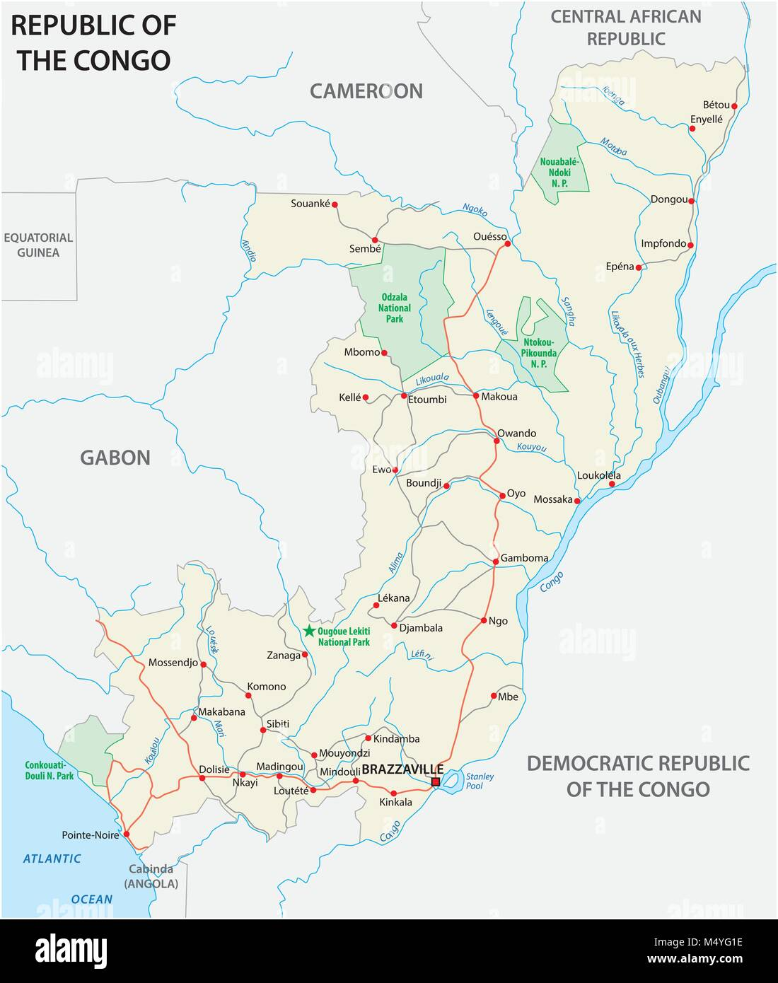 Republic of the congo road vector map - Stock Image