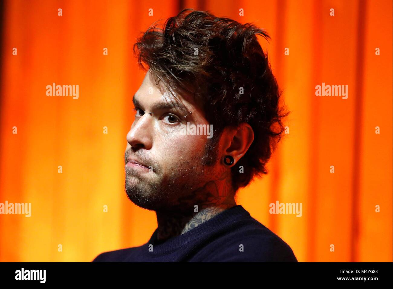 Federico Leonardo Lucia known for his stage name Fedez, an Italian rapper and singer. Rome, Italy, Jan 16, 2018 Stock Photo