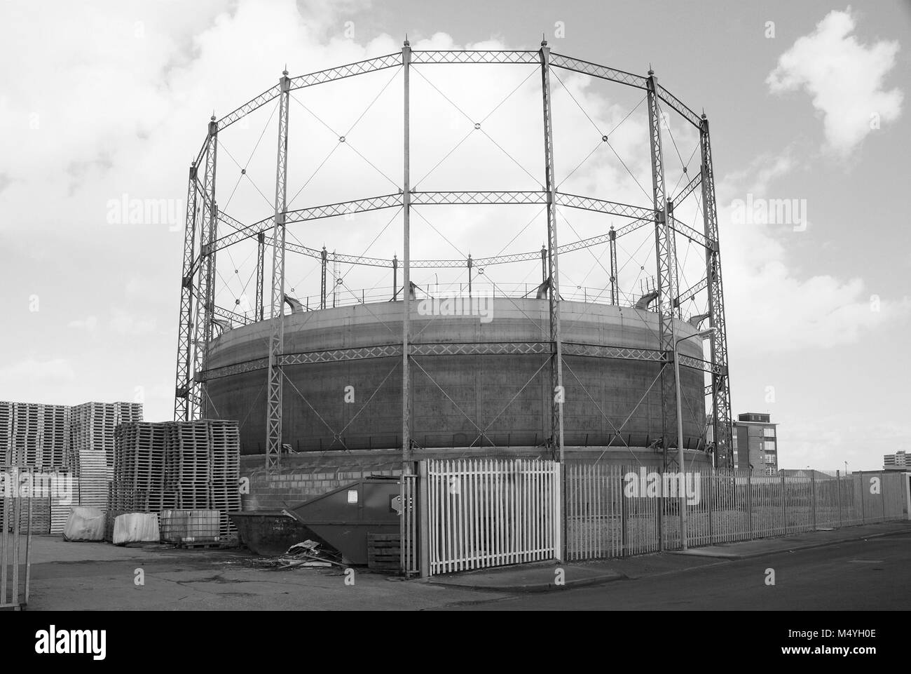 St Marks Street, Victorian gas storage installation, Gasometer, industrial site, Kingston Upon Hull, gas company - Stock Image