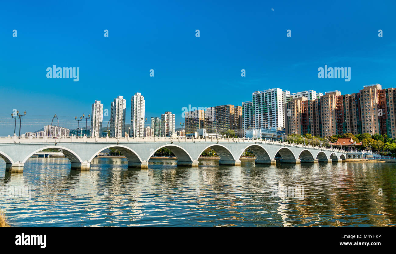 Lek Yuen Bridge, a pedestrian footbridge in Sha Tin, Hong Kong - Stock Image