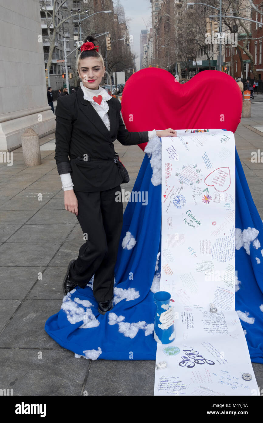 Performance artist Cocovan and her Love Letter to the World project in Washington Square Park in Greenwich Village, - Stock Image