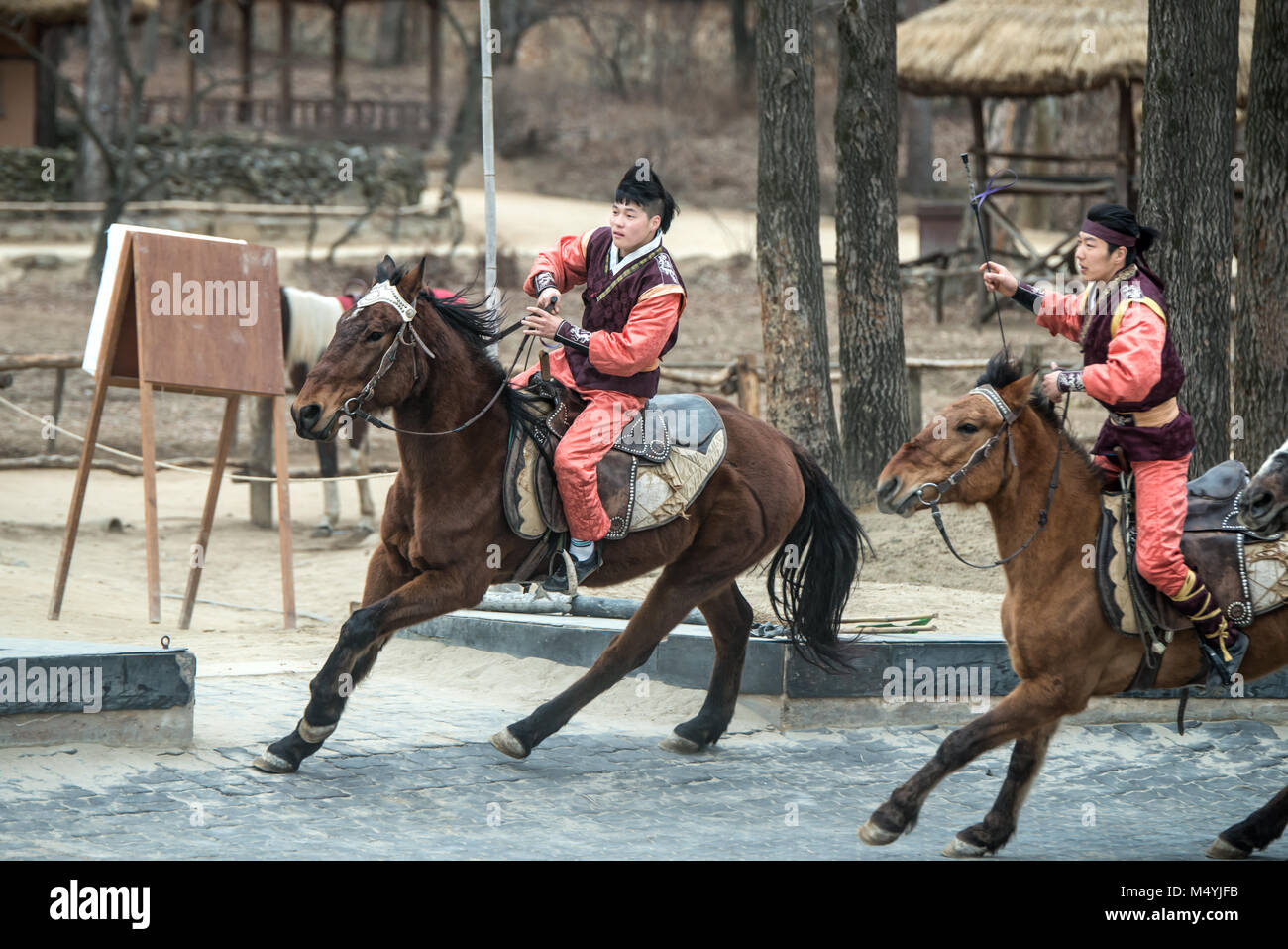 Participant a the Equestrian Feats act - Stock Image