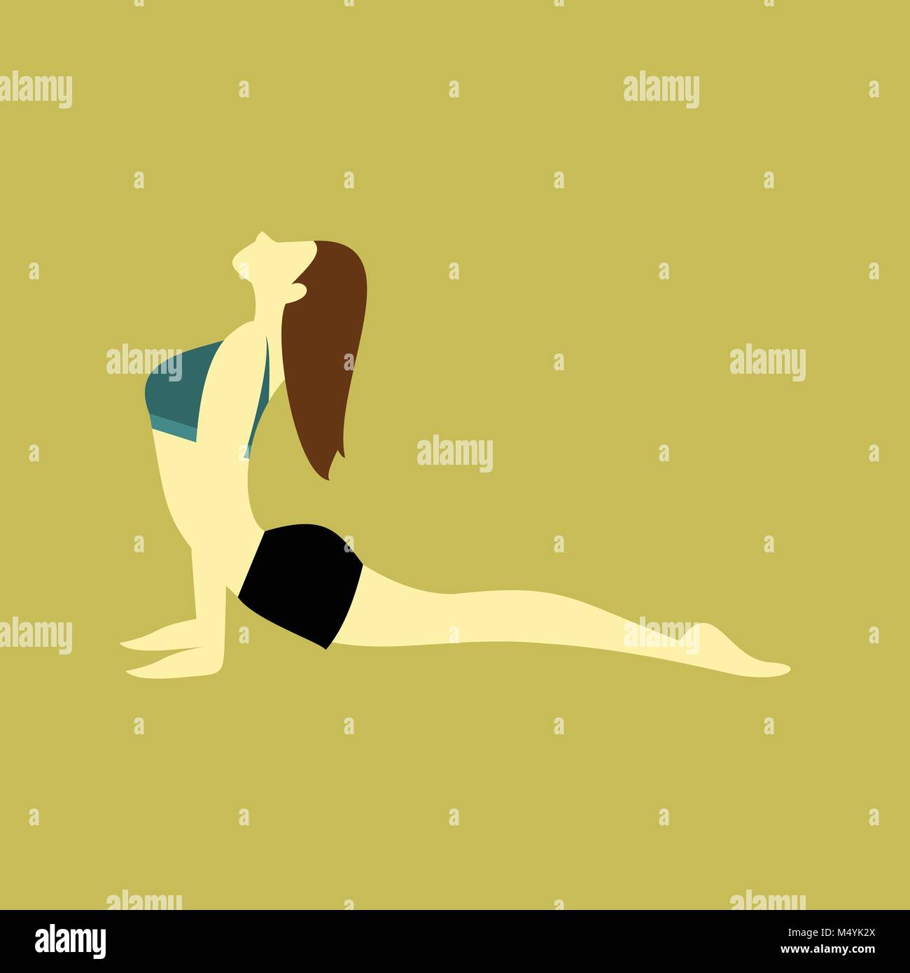 King Pigeon Pose Yoga Posture Illustration - Stock Vector