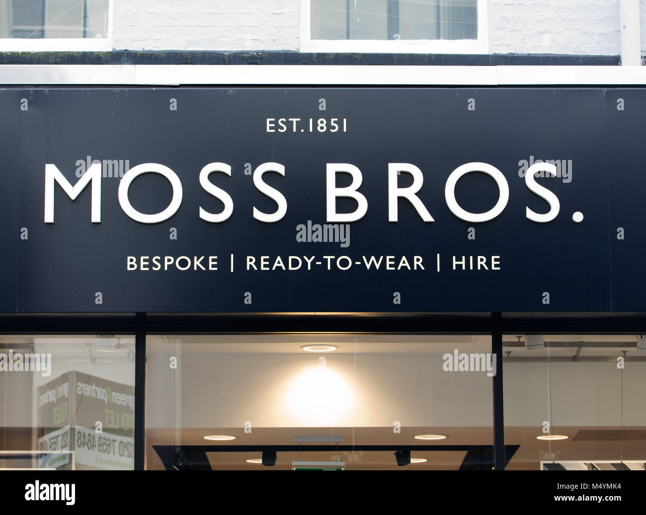 Moss Bros clothing shop in Bold Street Liverpool UK. - Stock Image