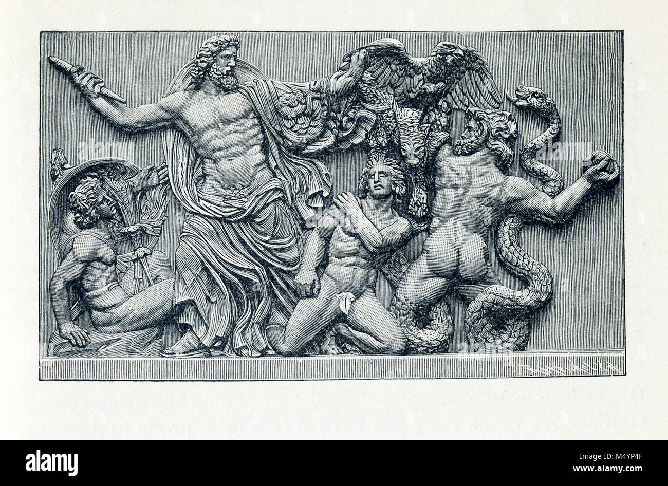 This illustration dates to the 1890s and shows the altar frieze at Pergamon (also Pergamum). Here we see Zeus fighting - Stock Image