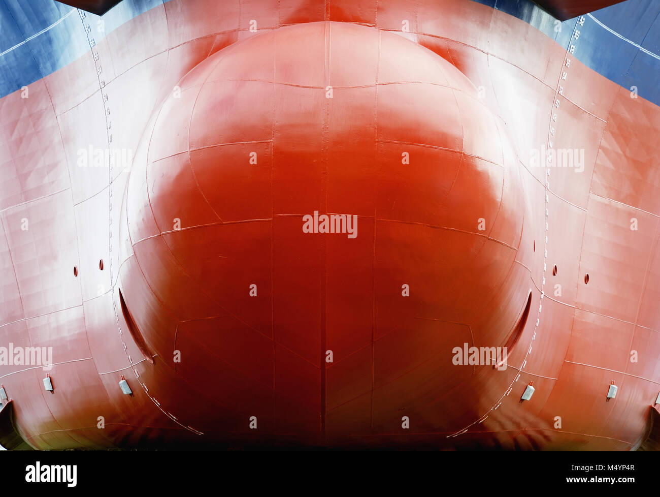 red keel of sea ship and water line - Stock Image