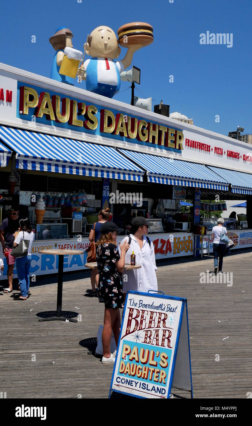 Historic Food Joint Pauls Daughter,Coney Island,New York - Stock Image