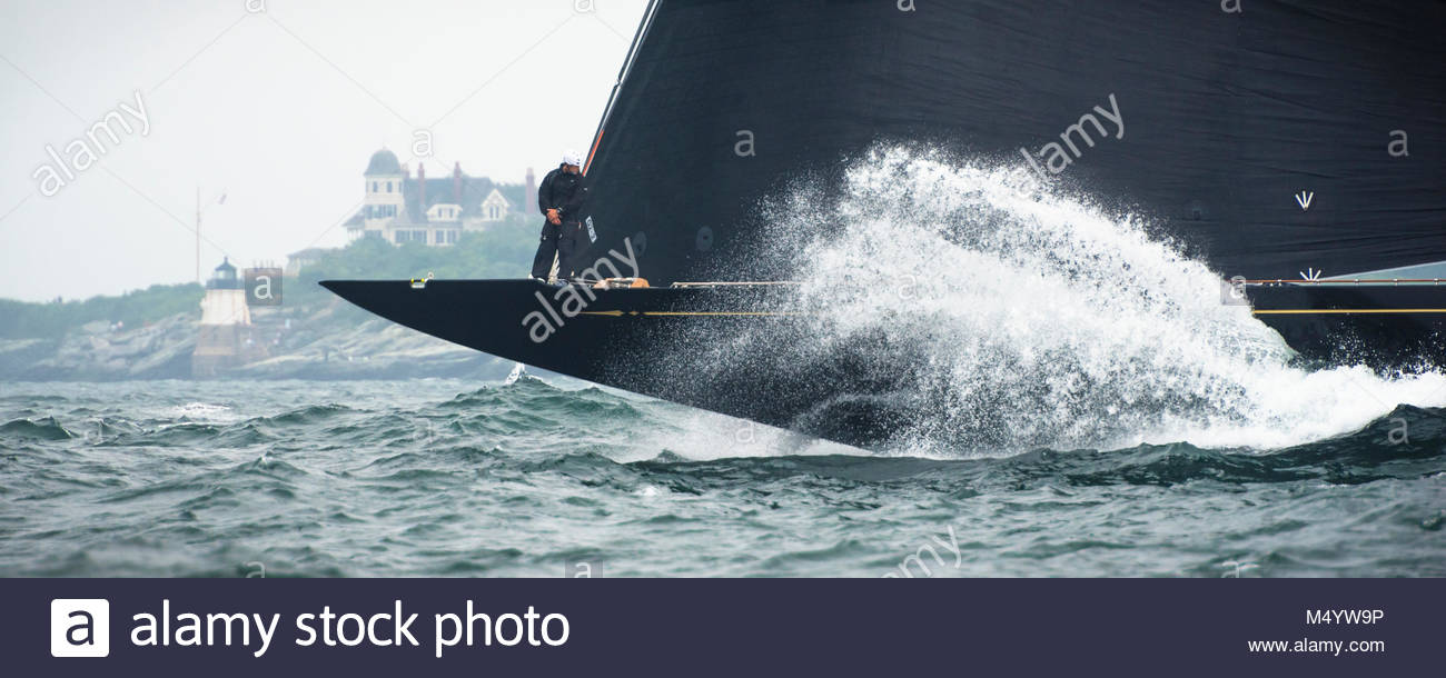 Crewman on the bow awaiting the first start of J Class World Championship hosted in Newport, August 2017.  JK-6 Stock Photo