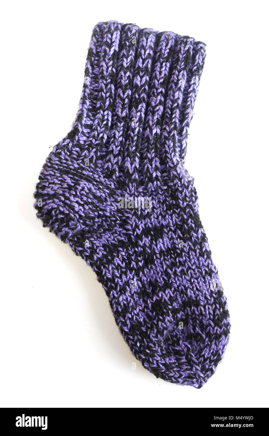 knitted sock - Stock Image