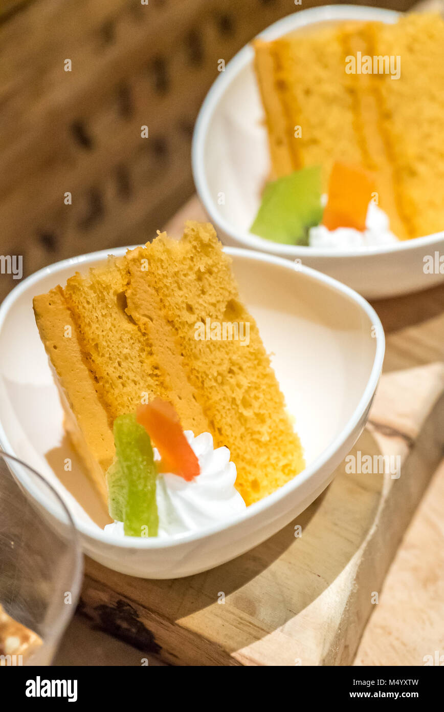 carrot cake piece ready to eat - Stock Image